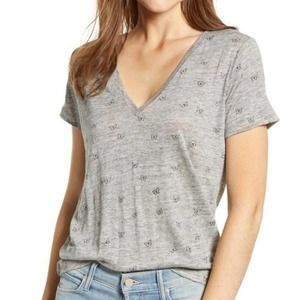 Rails Cara Butterfly Tee Linen Grey Size Small